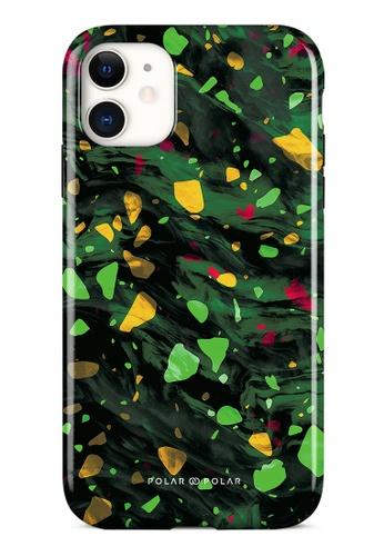 Polar Polar green Malachite Terrazzo Gem Dual-Layer Tough Case Glossy For iPhone 11 B0AA7AC23692B0GS_1
