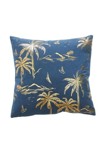DILAS HOME Palm Tree Gold Print Cushion Cover (Royal blue) DD176HL7561A3DGS_1