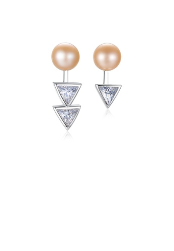 Glamorousky white 925 Sterling Silver Fashion Simple Geometric Triangle Pink Freshwater Pearl Stud Earrings with Cubic Zirconia 7B4C4ACBB35145GS_1