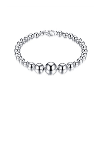 Glamorousky silver Simple and Fashion Rosary Beads Round Bracelet 14F22ACCB14089GS_1