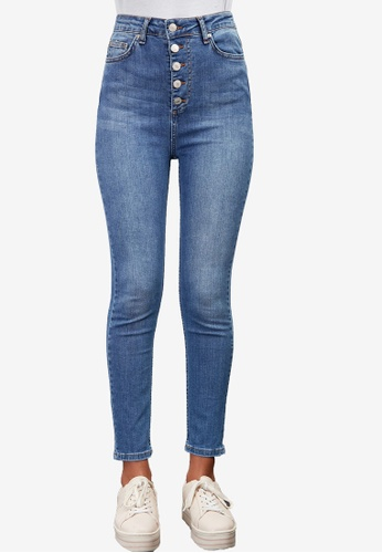Trendyol blue Button Front High Waist Skinny Jeans 232D9AAB8182E3GS_1