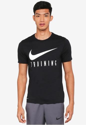 Nike black and white Nike Dry Training T-Shirt 4E455AA02ED440GS_1