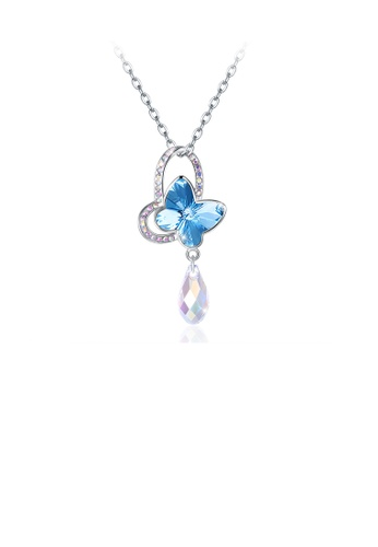 Glamorousky white 925 Sterling Silve Sparkling Elegant Noble Romantic Fantasy Blue Butterfly Pendant and Necklace with Austrian Element Crystal 78C6AAC622962EGS_1