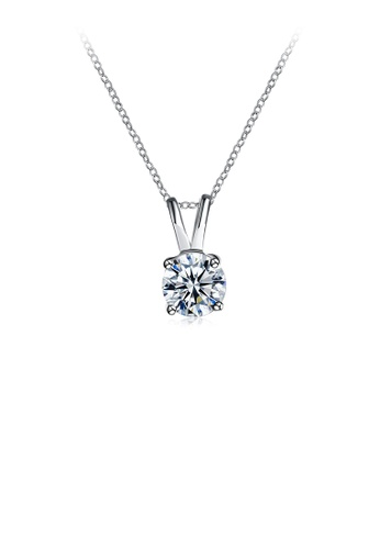 Glamorousky white Simple Cubic Zircon Pendant with Necklace 4C6C5ACAFEE128GS_1