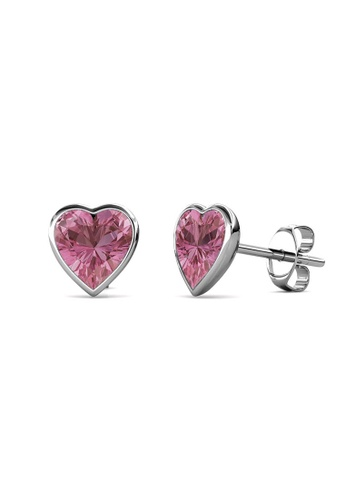 Her Jewellery silver Sweet Stone Earrings (Pink) -  Made with premium grade crystals from Austria D9FA8AC12B3E41GS_1