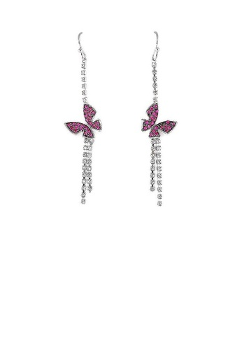 Glamorousky purple Dazzling Butterfly Earrings with Silver and Purple Austrian Element Crystals 5C7EDAC1B98527GS_1