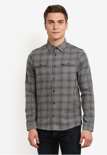 Burton Menswear London grey Grey Long Sleeve Brushed Check Shirt BU964AA0RWLYMY_1