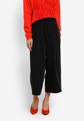 Selected Femme black SFKASSIA MW CROPPED PANTS SE157AA0S5QYMY_1