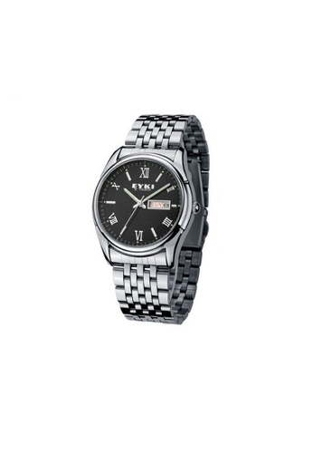 Eyki black Eyki E-Times W8470 Men's  Steel Watch (Silver Black) EY078AC09RNAMY_1