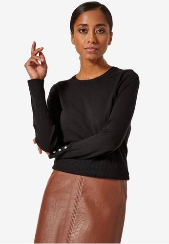 Dorothy Perkins black Petite Black Pearl Cuff Jumper ACED8AA4890877GS_1