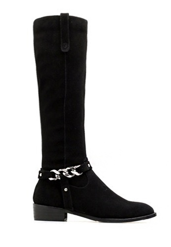 Twenty Eight Shoes black Chain Style Cow Suede Long Boots VB6234 8045CSHD7347B4GS_1