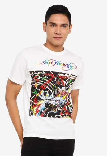 """Ed Hardy white """"Heavenly Dragon"""" Rhinestone Embroidered Round Neck Tee in Off White 11866AAD5A974FGS_1"""