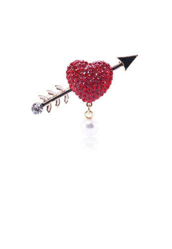 Glamorousky red Fashion and Romantic Plated Gold Heart-shaped Imitation Pearl Brooch with Red Cubic Zirconia 0260EACDE1EF77GS_1