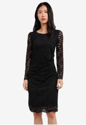 Wallis black Black Ruched Detail Lace Shift Dress WA800AA0S7CKMY_1