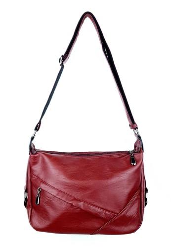 BELLE LIZ 紅色 Trendy Side Zip Ladies Shoulder PU Bag Wine Red 84C12ACDEA09BDGS_1