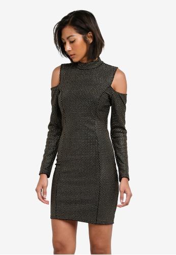 TOPSHOP black Cold Shoulder Velvet Dress TO412AA0S7UFMY_1
