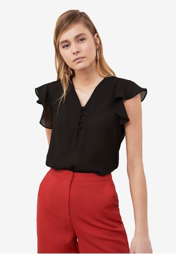 Trendyol black Front Button Frilly Sleeve Top D3736AA51930D2GS_1