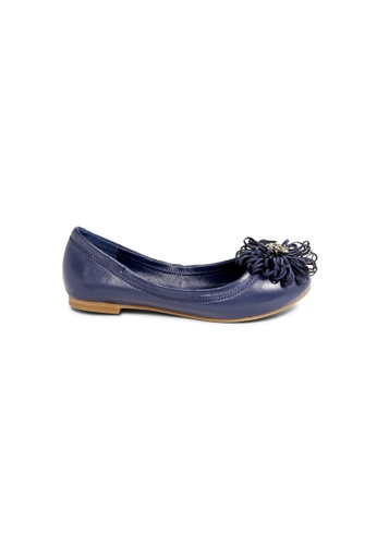 prettyFIT blue Navy Lambskin Ballerinas Embellished With Crystal Beads On Cut-Out Floral Details F21DBSH54131F6GS_1