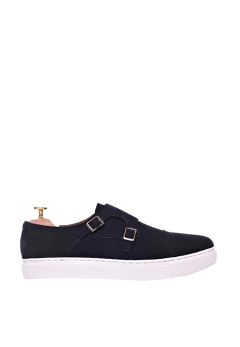 Zeve Shoes black Zeve Shoes Double Monk Strap Sneakers - Black Nubuck Leather 521DDSH53F39B4GS_1