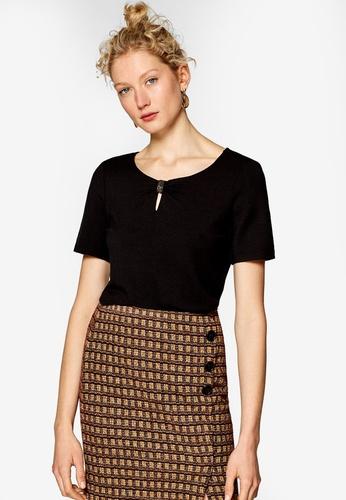 ESPRIT 黑色 短袖品牌刺繡T恤 1EDF0AABB3145BGS_1