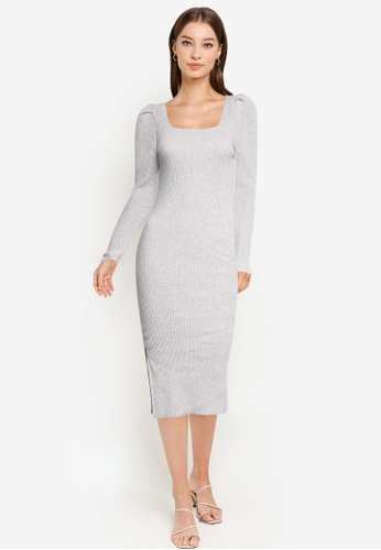 Miss Selfridge grey Grey Puff Sleeve Square Neck Dress 87C3FAA58091C2GS_1