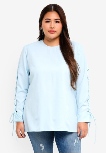 CURVA FABULOUS blue Ms Waidat Corset Sleeve Top C5F99AA609A34AGS_1