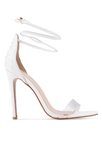 Public Desire white Bare Lace Up Perspex Toe Barely There Heels 4D6D1SH4C3902EGS_1