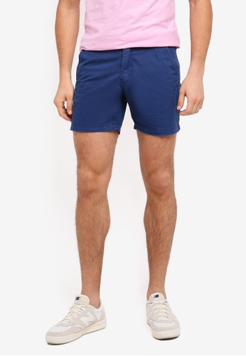 ZALORA blue Garment Washed Cotton Shorts 6D465AAAD42574GS_1
