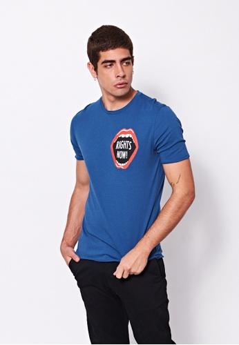 Sisley blue Printed T-shirt 0248AAA8B6A91EGS_1