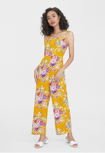 Pomelo yellow Square Neck Floral Jumpsuit - Yellow E31F3AA47B0FB5GS_1