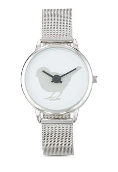 【ZALORA】 小鳥印花網眼帶圓框手錶
