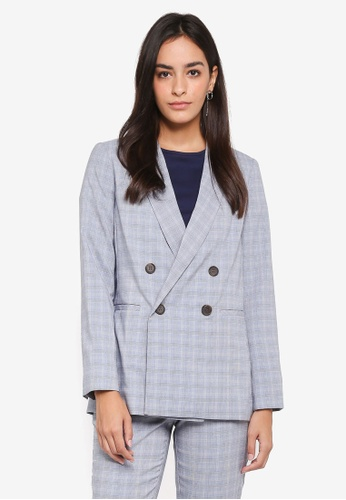 Dorothy Perkins blue Blue Summer Check Suit Jacket 26419AAD34E960GS_1