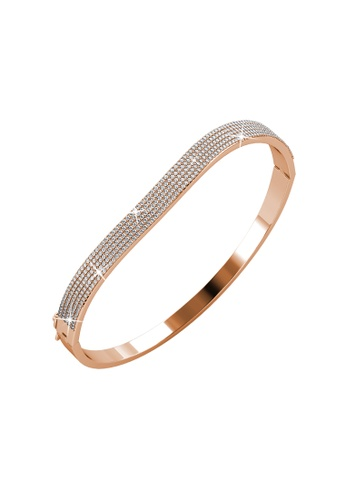Her Jewellery gold Wave Bangle (Rose Gold) - Made with Premium grade crystals from Austria 3E145AC46DA782GS_1