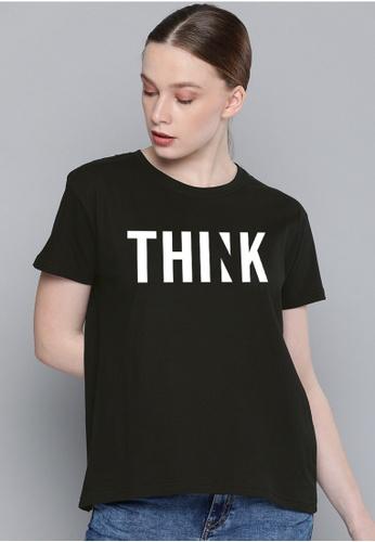 Greatvalueplus black Think  Women's Round Neck Statement T-Shirt C8626AA9411B86GS_1