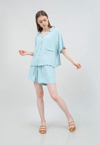Kai Essentials green and blue Kai Essentials Mischa Pajamas Set Mint Green E3981AAA79574FGS_1