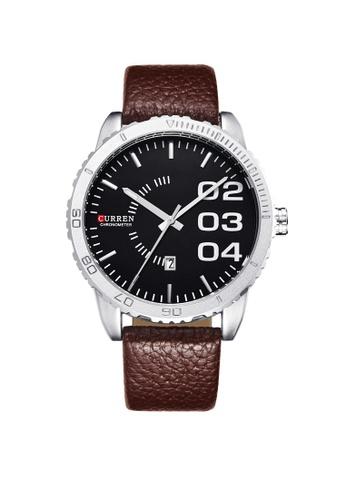 curren Curren 8125 Men's Fashion Date Display Leather Watch (Black Brown) CU537AC77TCKMY_1