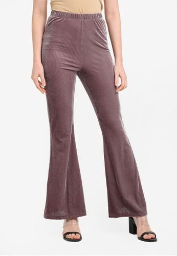 Zalia purple Velvet Flare Pants 6BD3BAAA8B92E2GS_1