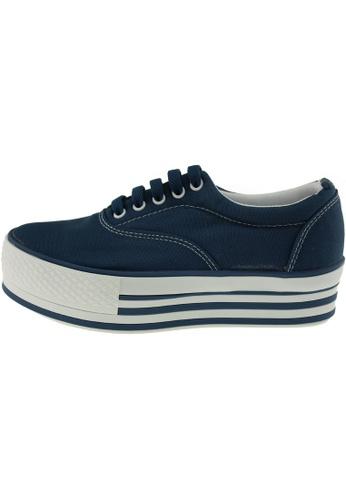 Maxstar 藍色 新款韩国鞋C40-5H時尚帆布布混合女深藍色 US Women Size MA345SH87HJCTW_1
