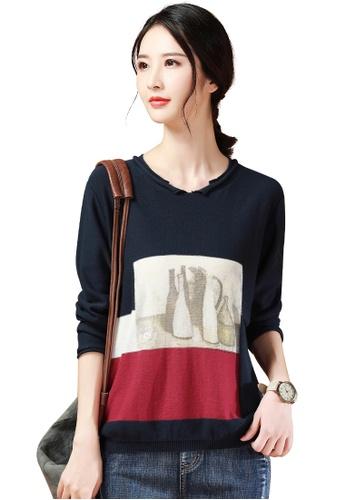 A-IN GIRLS navy Simple V-Neck Print Sweater D3FB5AAEB5B757GS_1