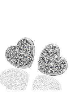 Isabelle White Gold Plated Diamond Heart Earrings