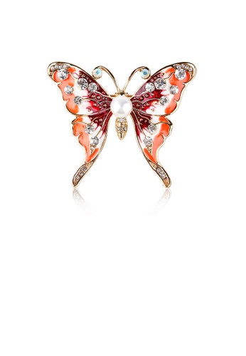 Glamorousky white Fashion and Elegant Plated Gold Enamel Red Butterfly Imitation Pearl Brooch with Cubic Zirconia E8B83AC0BF0942GS_1