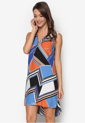 幾何印花拉鍊連身裙esprit分店, 服飾, 服飾