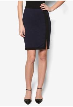 Collection Contrast Slit Midi Skirt