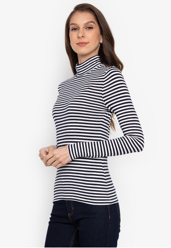 MARKS & SPENCER navy Cotton Rich Striped Long Sleeve 9281AAAB854E91GS_1