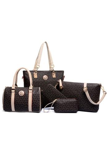 Jackbox brown Jackbox Set of 5 Artificial Leather Purse Sling Bag Handbag Tote Bag 907 JA762AC77EYKMY_1