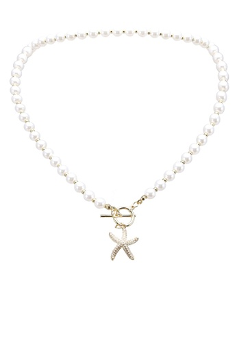Red's Revenge gold Starfish Wishes Charm Choker Necklace 708D2AC69C557BGS_1