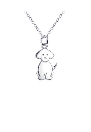 Glamorousky silver 925 Sterling Silver Simple Cute Dog Pendant with Necklace 1CE41ACA7A4232GS_1