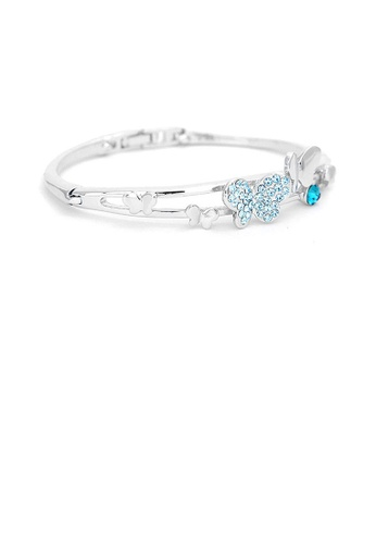 Glamorousky blue Cutie Butterfly Bangle with Blue Austrian Element Crystals AFB68ACE5D858AGS_1