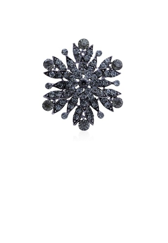 Glamorousky black Fashion and Elegant Flower Brooch with Black Cubic Zirconia 1E8AAAC302327BGS_1