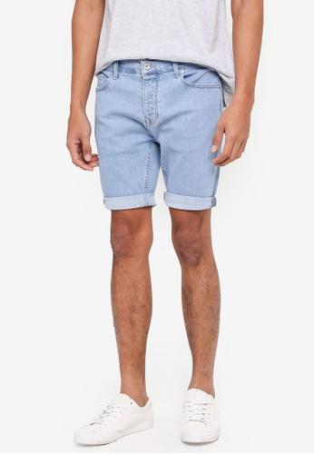 Topman blue Bleach Stretch Skinny Denim Shorts 85F6AAAB887B62GS_1